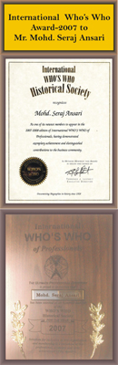 International Who's Who Award-2007 To Mr. Mohd. Seraj Ansari